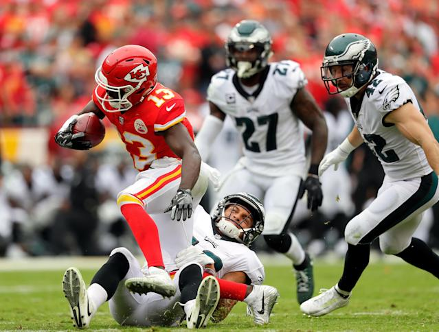 <p>Wide receiver De'Anthony Thomas #13 of the Kansas City Chiefs carries the ball during the game against the Philadelphia Eagles at Arrowhead Stadium on September 17, 2017 in Kansas City, Missouri. (Photo by Jamie Squire/Getty Images) </p>