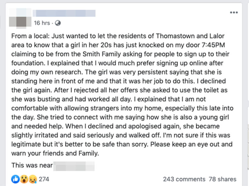 One Melbourne resident claimed the collector knocked on their door at 7.45pm.