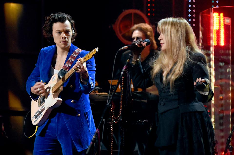 Harry Styles and inductee Stevie Nicks performed at the 2019 Rock & Roll Hall Of Fame Induction Ceremony Show in Brooklyn, NY, in 2019. (Photo: Jamie McCarthy/Getty Images For The Rock and Roll Hall of Fame)