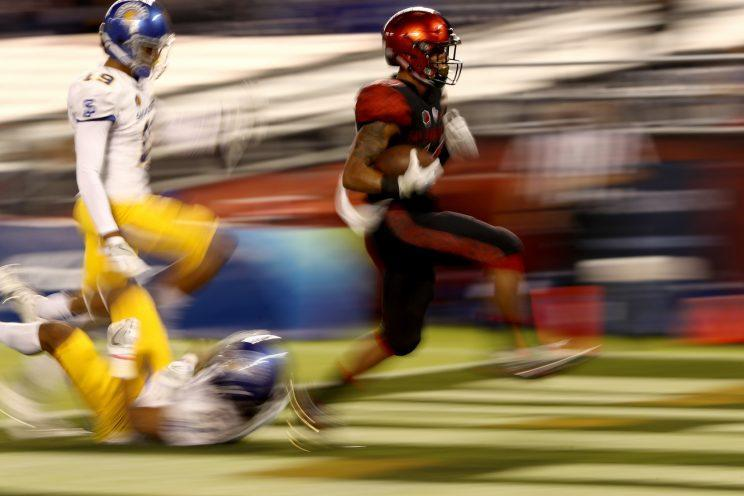 Donnel Pumphrey needs 92 yards to surpass 2,000 on the season. (Getty Images)