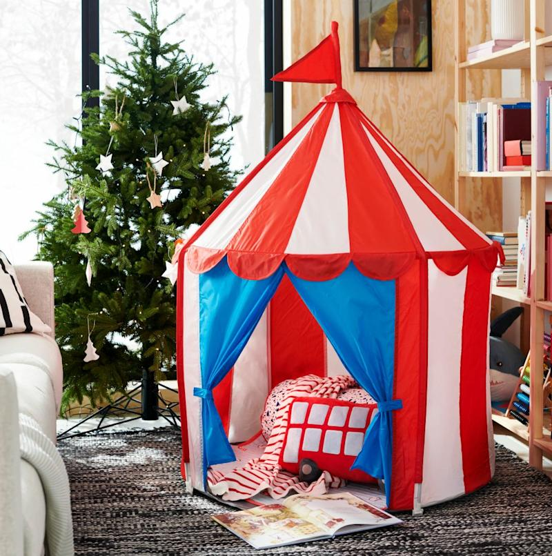 "Creates a sheltered spot, a room in the room, to play or just cuddle up in.&nbsp;<strong>Ages:</strong> 18 months +&nbsp;<strong>Get it at:</strong> <a href=""https://www.ikea.com/ca/en/p/cirkustaelt-childrens-tent-40342054/"" target=""_blank"" rel=""noopener noreferrer"">IKEA</a>, $29.99"