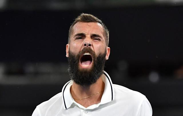 Benoit Paire of France reacts during his match against Dusan Lajovic of Serbia during day 4 of the ATP Cup tennis tournament at Pat Rafter Arena in Brisbane