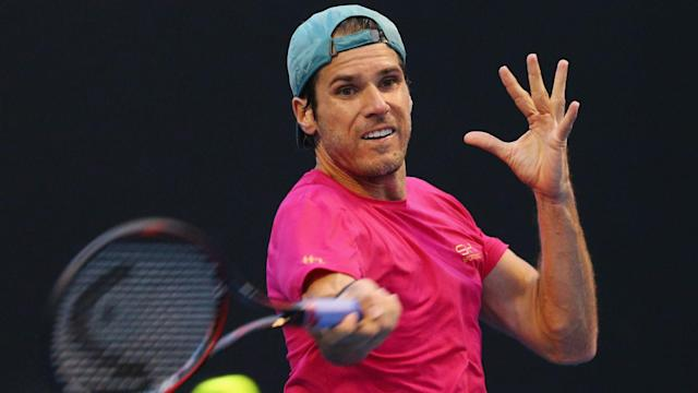 Poor weather, injuries and now iguanas...an unexpected visitor halted Jiri Vesely's Miami Open win over veteran Tommy Haas.