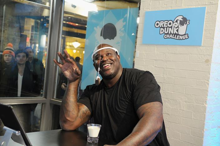 To launch the OREO Dunk Challenge, Shaquille ONeal challenged fans to a new kind of dunk hands-free OREO cookie dunking, powered by brain-sensing technology in New York City.