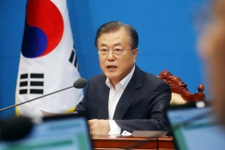 South Korean President Moon Jae-in speaks during an irregular cabinet meeting at the Presidential Blue House in Seoul