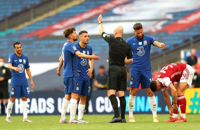 Chelsea's Mateo Kovacic (second left) saw red