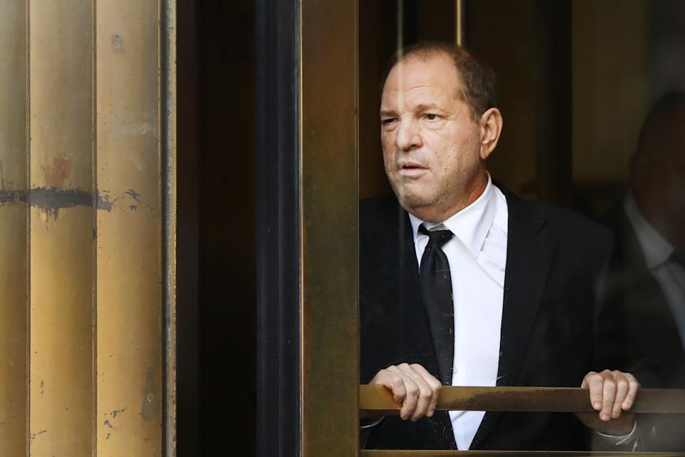 NEW YORK, NEW YORK - AUGUST 26: Harvey Weinstein exits court after an arraignment over a new indictment for sexual assault on August 26, 2019 in New York City. The new charges against the movie mogul are from an indictment involving the actor Annabella Sciorra. Weinstein plead not guilty on all charges and his sex-crimes trial has been delayed until January.  (Photo by Spencer Platt/Getty Images)