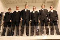 <p>Spotted while wondering around the Prop House: these multiple life-size mannequins of Hugo Weaving's antagonist. While 'The Matrix' wasn't a horror movie, these figures, looming over the room, might creep out visitors. (Photo: Angela Kim/Yahoo) </p>