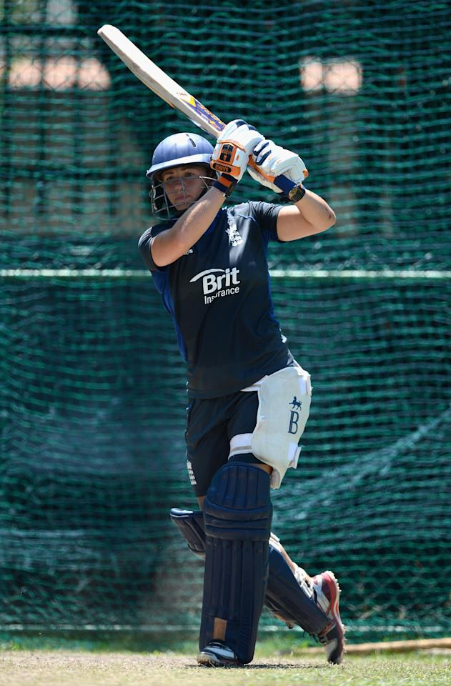 COLOMBO, SRI LANKA - OCTOBER 06:  Katherine Brunt of England bats during a nets session at Colts Cricket Ground on October 6, 2012 in Colombo, Sri Lanka.  (Photo by Gareth Copley/Getty Images)