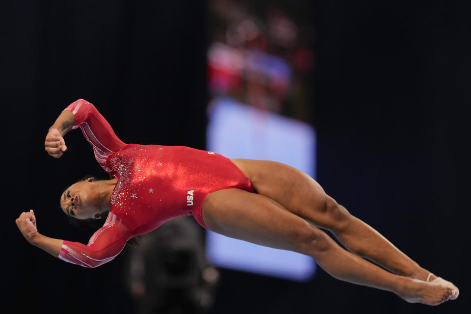 Jordan Chiles competes in the floor exercise during the women's U.S. Olympic Gymnastics Trials Sunday, June 27, 2021, in St. Louis. (AP Photo/Jeff Roberson)