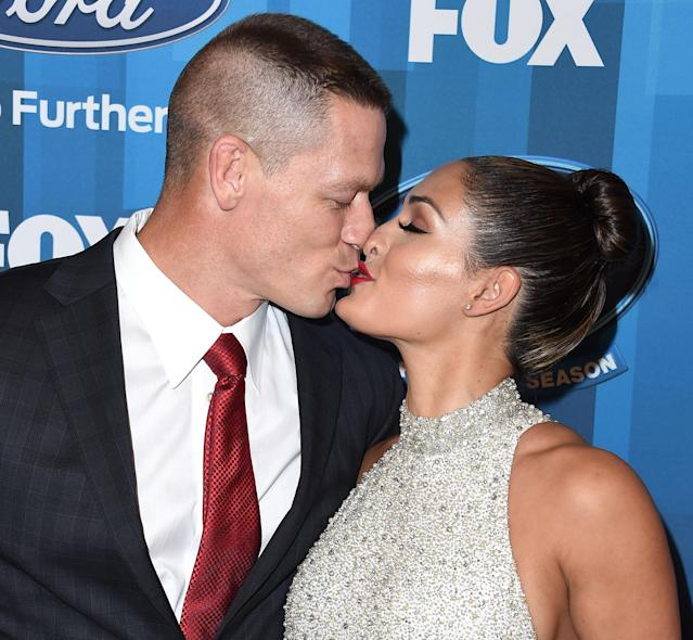 John Cena and Nikki Bella at the  <em>American Idol</em> finale on April 7, 2016, in Hollywood. (Photo: Getty Images)