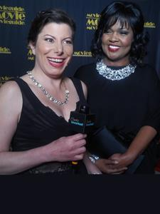 Cindy interviewing 10X Grammy Winner, CeCe Winans on the red carpet at the 2018 Movie Guide Awards in Los Angeles, CA.