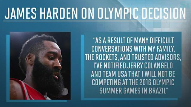 On Friday, James Harden joined the long list of NBA players to withdraw from consideration for the 2016 U.S. Olympic basketball team.