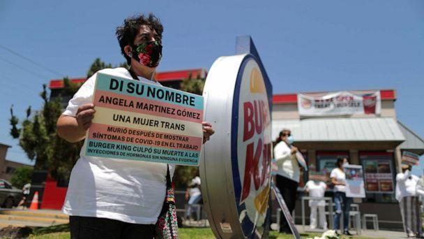 PHOTO: People protest to demand increased safety measures from Burger King after employees said a fellow worker died amid the outbreak of the coronavirus, in Los Angeles, July 10, 2020. (Lucy Nicholson/Reuters)