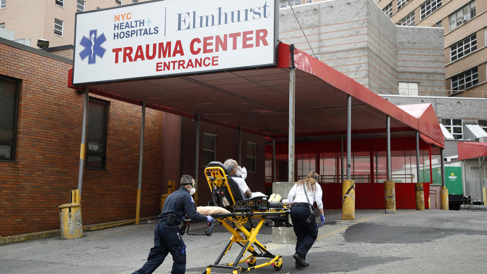 EMT's bring in a patient to Elmhurst Hospital trauma center in New York, United States, n April 26, 2020. (John Lamparski/NurPhoto via Getty Images)