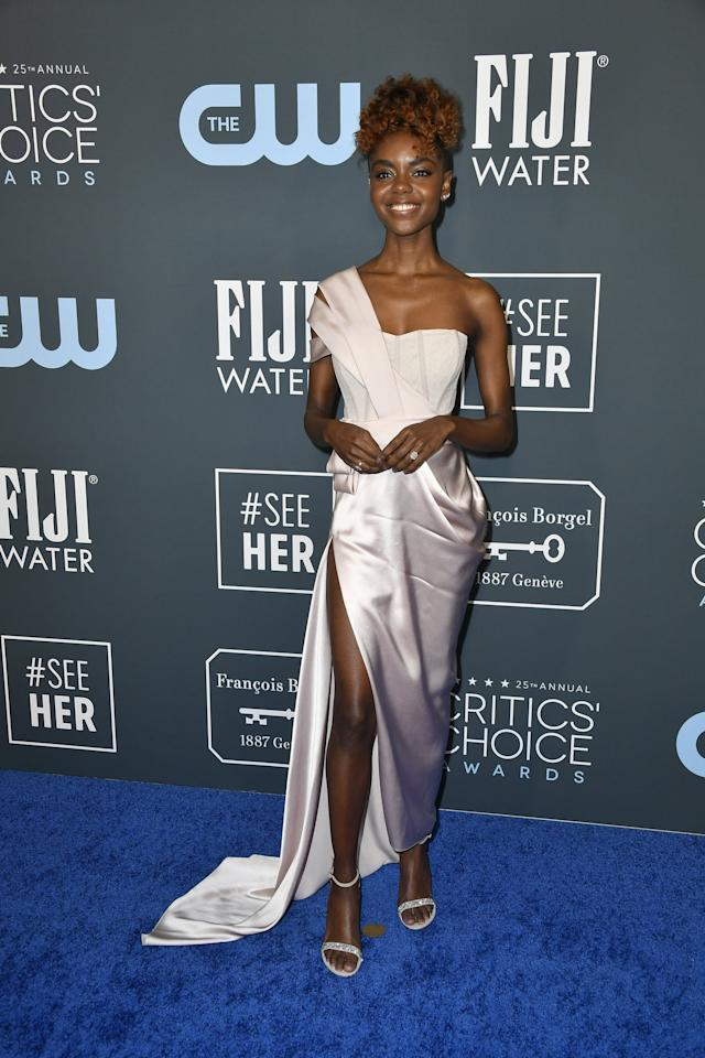<p>Actress Ashleigh Murray sported an elegant one-shoulder gown at the 2020 Critics' Choice Awards.</p>