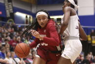 Stanford's Haely Jones drives as Mississippi State's Rickea Jackson defends during the first half of an NCAA college basketball game Saturday, Nov. 30, 2019, in Victoria, British Columbia. (Chad Hipolito/The Canadian Press via AP)