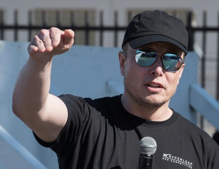 Tesla founder Elon Musk answers questions after the 2019 SpaceX Hyperloop Pod competition at the SpaceX headquarters in Los Angeles on July 21, 2019 (AFP Photo/Mark RALSTON)