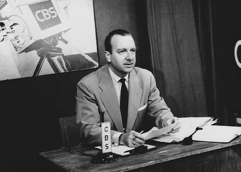 """FILE - This July 1, 1952 file photo provided by CBS shows TV Washington newsman Walter Cronkite. In """"Cronkite,"""" a biography by Douglas Brinkley, the CBS Newsman emerges as the intrepid newshound upon whom was thrust the unsought mantle of """"most trusted man in America"""" and who never betrayed that public trust. (AP Photo/CBS, File)"""