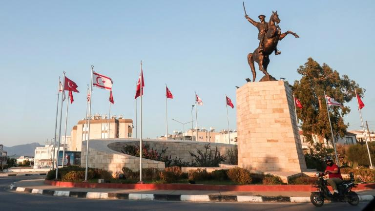 This picture taken on August 31, 2018, shows a view of the equestrian statue of Mustafa Kemal Ataturk, founder of modern Turkey, in northern Cyprus