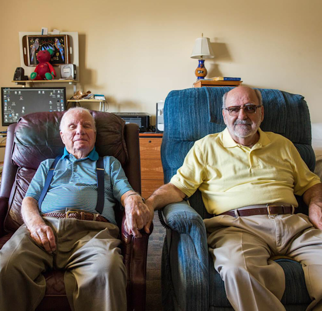 John Banvard, 100, a World War II vet, and Jerry Nadeau, 72, a veteran of Vietnam, first met 25 years ago. They were married in 2013 at their retirement home in Chula Vista, Calif. (Photo: Instagram/StoryCorps)