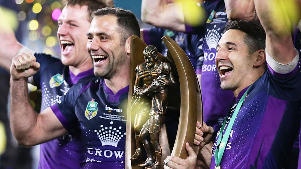 Pictured here, Cameron Smith and Billy Slater celebrating their 2017 grand final win.