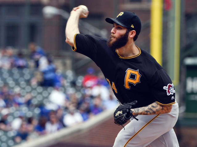 Pittsburgh Pirates starting pitcher Trevor Williams delivers during the first inning of a baseball game against the Chicago Cubs, Thursday, April 12, 2018, in Chicago. (AP Photo/Matt Marton)
