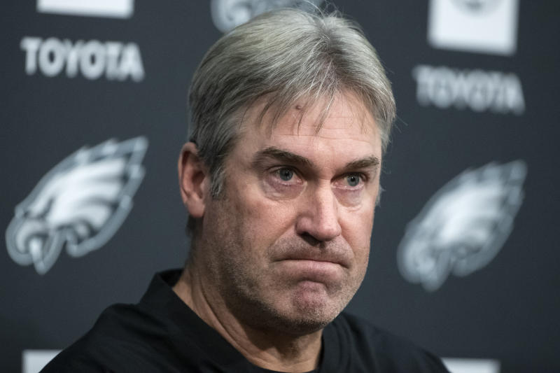 Philadelphia Eagles head coach Doug Pederson returned to the team facility on Wednesday. (AP Photo/Matt Rourke)