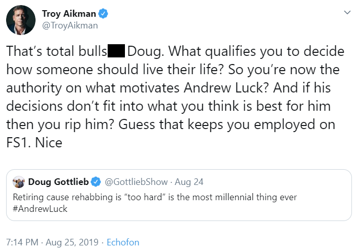 Screen shot of Troy Aikman's tweet blasting Doug Gottlieb