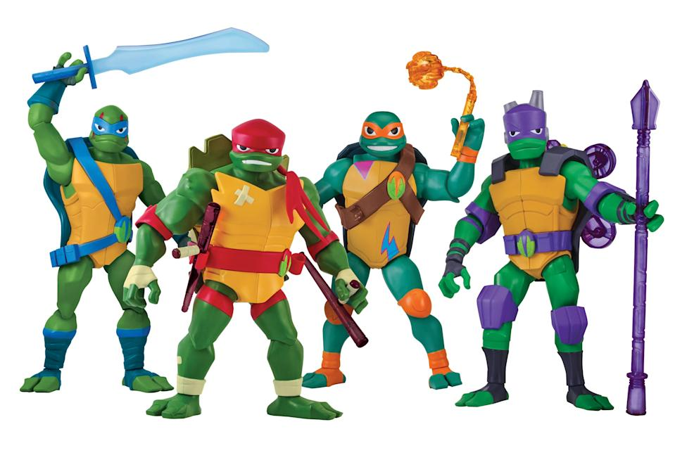 <p>Nickelodeon's all-new <em>TMNT </em>cartoon launches this fall and features Raphael, rather than Leonardo, as the leader of the quartet. These giant-size action figures come packed with plenty of Turtle Power. (Photo: Playmates) </p>