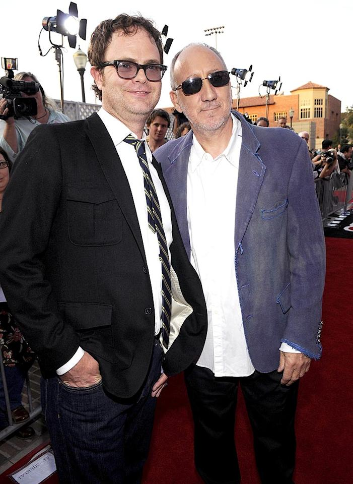 """Show host Rainn Wilson hit the red carpet with Who guitarist and honoree Peter Townshend. Kevin Mazur/<a href=""""http://www.wireimage.com"""" target=""""new"""">WireImage.com</a> - July 12, 2008"""