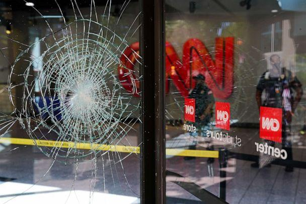 PHOTO: Damage is seen to CNN Center following an overnight demonstration over the Minneapolis death of George Floyd while in police custody on May 30, 2020 in Atlanta. (Elijah Nouvelage/Getty Images)
