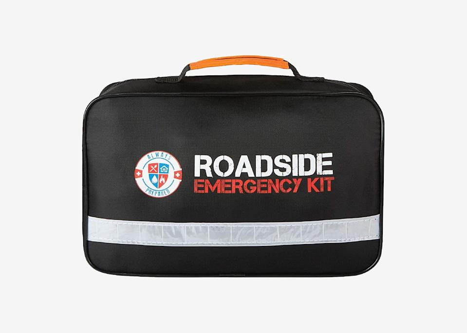 """<p>Whether you're driving your own car or a rental, this Always Prepared roadside emergency kit will ease your mind when it comes to any potential car troubles. It contains more than 100 useful items (neatly organized), including jumper cables, a reflective safety vest and warning triangle to keep you safer at night, a self-powered flashlight, two light sticks, an emergency rain poncho and mylar blanket, a full first-aid kit, a tire pressure gauge, and more.</p> <p><strong>Buy now:</strong> <a href=""""https://amzn.to/3fufszx"""" rel=""""nofollow noopener"""" target=""""_blank"""" data-ylk=""""slk:$45, amazon.com"""" class=""""link rapid-noclick-resp"""">$45, amazon.com</a></p>"""