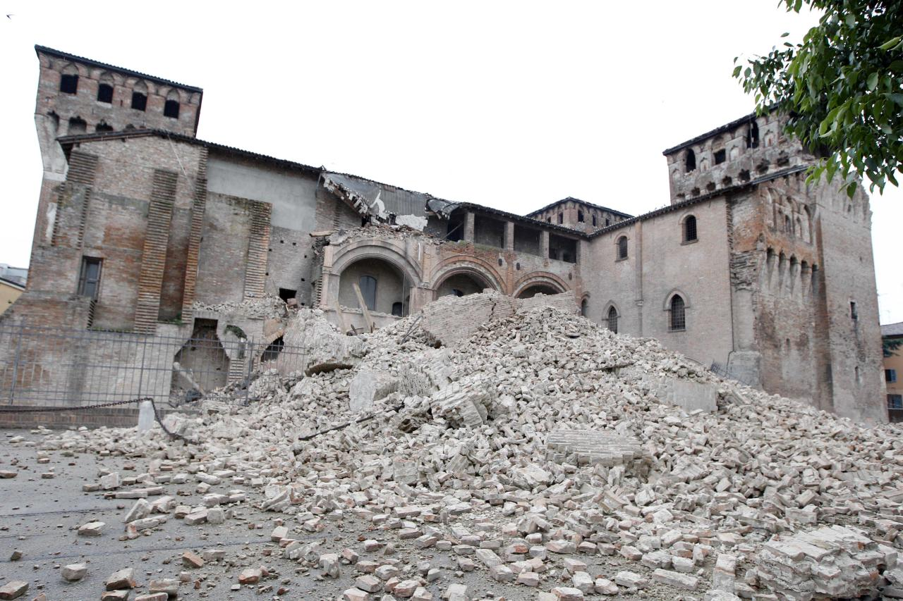 The crumbling wreck of the Rocca Estense in Finale Emilia, in northern Italy, Sunday, May 20, 2012. A magnitude-6.0 earthquake shook northern Italy early Sunday, killing at least three people and toppling some buildings, emergency services and news reports said. The quake struck at 4:04 a.m. Sunday between Modena and Mantova, about 35 kilometers (22 miles) north-northwest of Bologna at a relatively shallow depth of 10 kilometers (6 miles), the U.S. Geological Survey said. (AP Photo/Luca Bruno)