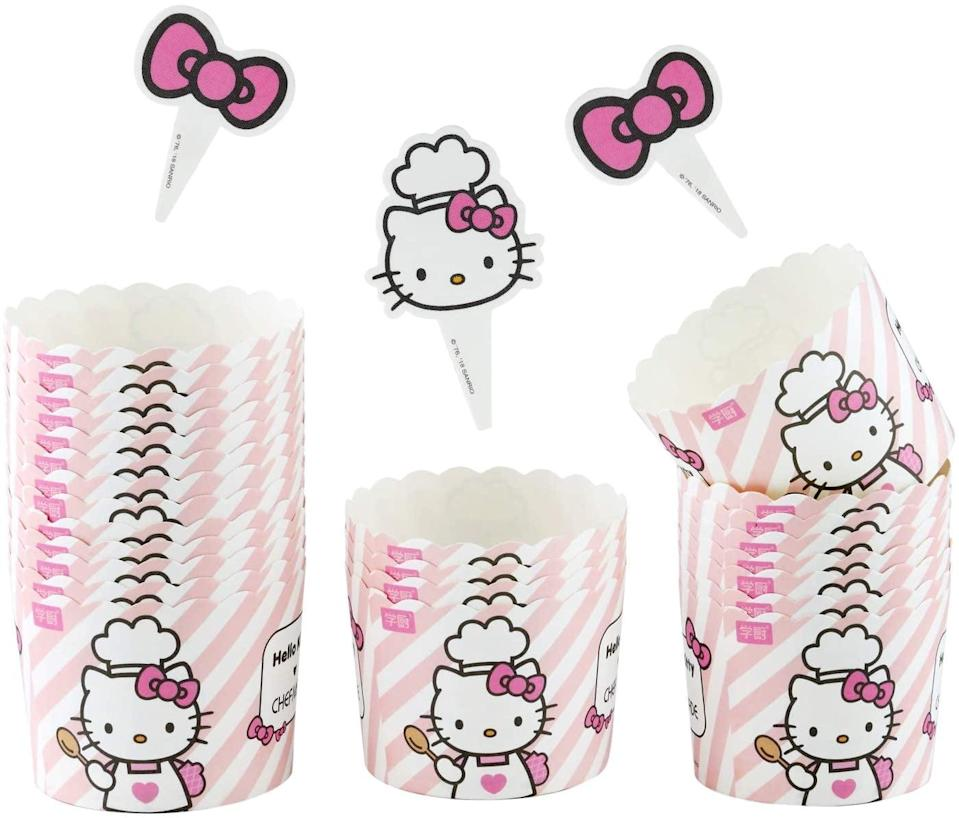 <p>Use the <span>CHEFMADE Hello Kitty Chef Muffin Liners, 25Pcs 2oz Non-Stick Cupcake Paper Baking Cups</span> ($13) to create yummy cupcakes and muffins.</p>