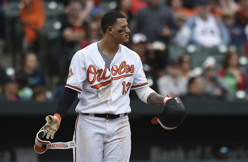 Manny Machado looks to the mound after a pitch was thrown near his head by Matt Barnes during the eighth inning on Sunday. (AP Photo/Gail Burton)