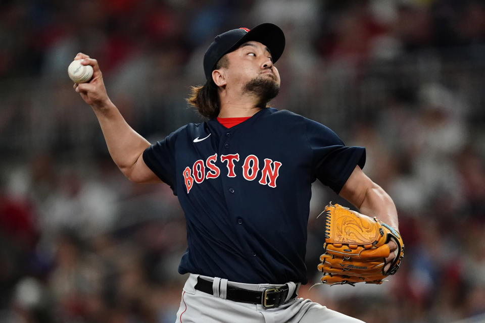 Boston Red Sox relief pitcher Hirokazu Sawamura delivers in the fifth inning of a baseball game against the Atlanta Braves Wednesday, June 16, 2021, in Atlanta. (AP Photo/John Bazemore)