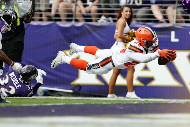 <p>Running back Duke Johnson #29 of the Cleveland Browns goes for a touchdown against the Baltimore Ravens in the four quarter at M&T Bank Stadium on September 17, 2017 in Baltimore, Maryland. (Photo by Patrick Smith/Getty Images) </p>