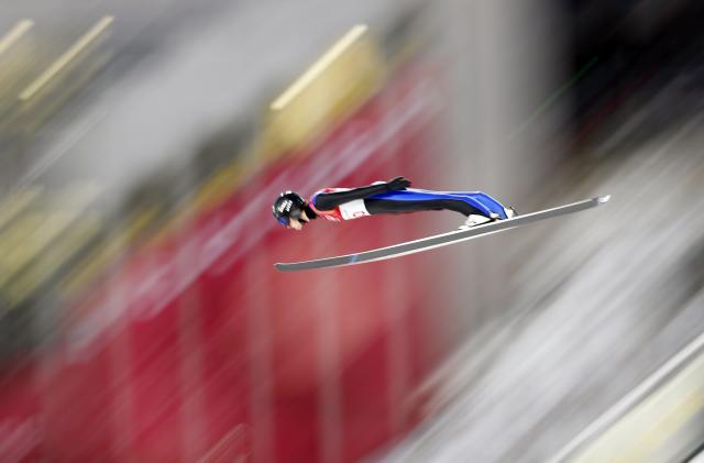 Nordic Combined Events – Pyeongchang 2018 Winter Olympics – Men's Individual Gundersen Large Hill Trial round – Alpensia Ski Jumping Centre - Pyeongchang, South Korea – February 20, 2018 - Jarl Magnus Riiber of Norway competes. REUTERS/Dominic Ebenbichler