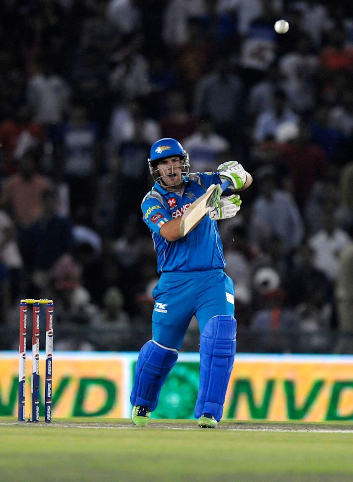 Aaron Finch of Pune Warriors  bats during match 29 of the Pepsi Indian Premier League between The Kings XI Punjab and the Pune Warriors held at the PCA Stadium, Mohali, India  on the 21st April 2013. (BCCI)