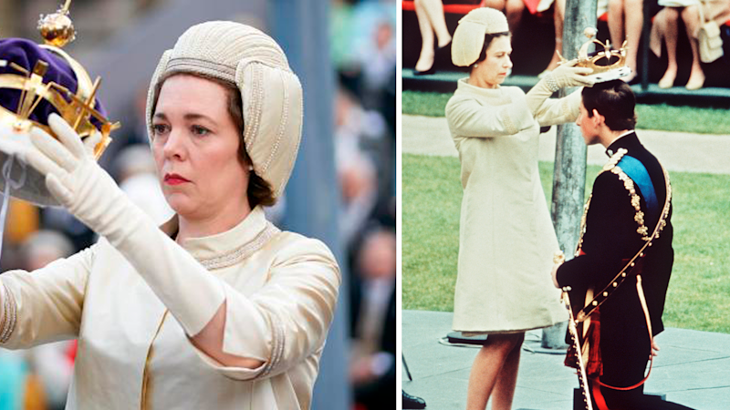 The Crown's Olivia Colman at Charles' investiture mirrors Queen Elizabeth in 1969.