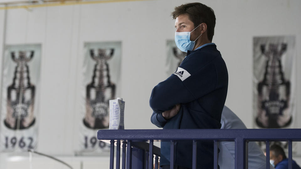Toronto Maple Leafs general manager Kyle Dubas watches during NHL training camp ahead of the NHL Stanley Cup playoffs in Toronto on Wednesday, July 15, 2020. THE CANADIAN PRESS/Nathan Denette
