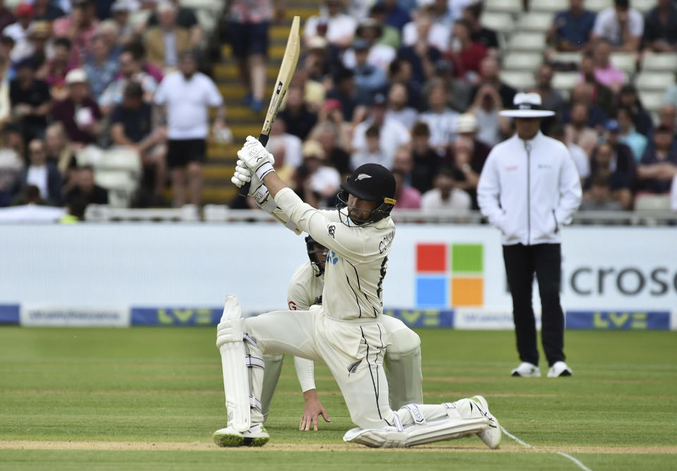 New Zealand's Devon Conway plays a shot during the second day of the second cricket test match between England and New Zealand at Edgbaston in Birmingham, England, Friday, June 11, 2021. (AP Photo/Rui Vieira)