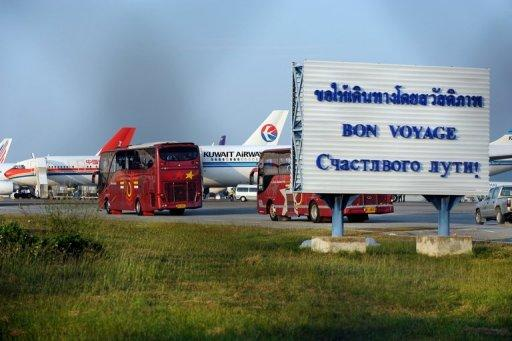 Planes are stationed on the tarmac of the U-Tapao military airport in Thailand