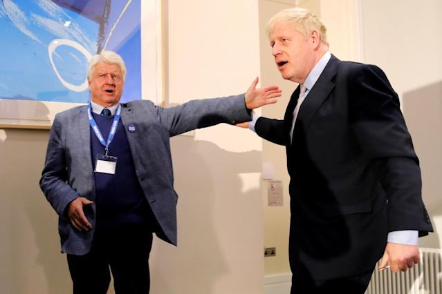 Stanley Johnson said he would not heed his son Boris's advice on avoiding the pub during the coronavirus outbreak. (AFP via Getty Images)