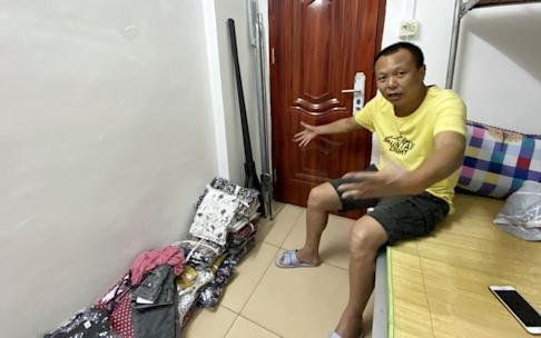 Huang Weijie is cutting his accommodation cost by staying in this small studio flat in Zhongshan city, Guangdong province.