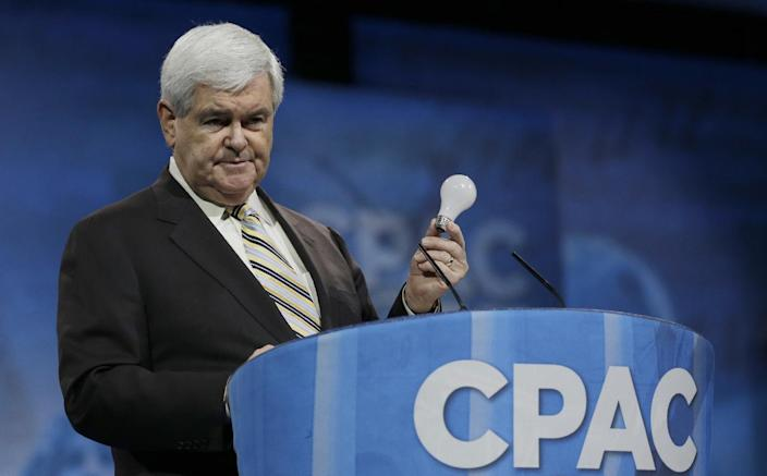 RETRANSMISSION TO ADD INFORMATION ABOUT THE SUBJECT OF GINGRICH'S TALK - Former House Speaker Newt Gingrich holds a lightbulb as a prop while talking about innovation and Thomas Edison during the 40th annual Conservative Political Action Conference in National Harbor, Md., Saturday, March 16, 2013. It may seem early, but the diehard activists who attended the three-day conference are already picking favorites in what could be a crowded Republican presidential primary in 2016. (AP Photo/Carolyn Kaster)