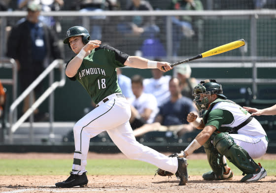 Dartmouth catcher Adam Gauthier (18) at bat during a college baseball game between the Dartmouth College Big Green and the University of Miami Hurricanes on March 5, 2017 at Alex Rodriguez Park at Mark Light Field, Coral Gables, Florida. Dartmouth defeated Miami 5-0.