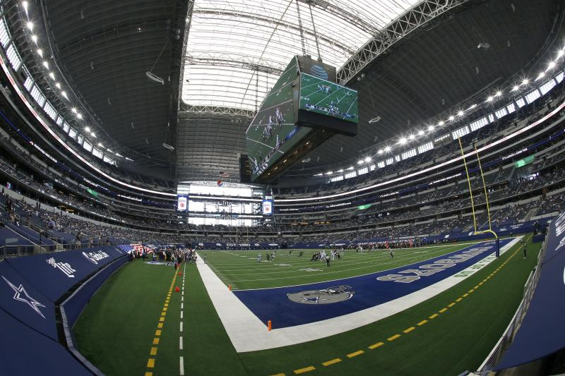 Fans watch as the Atlanta Falcons play the Dallas Cowboys at AT&T Stadium in the first half of an NFL football game in Arlington, Texas, Sunday, Sept. 20, 2020. (AP Photo/Ron Jenkins)