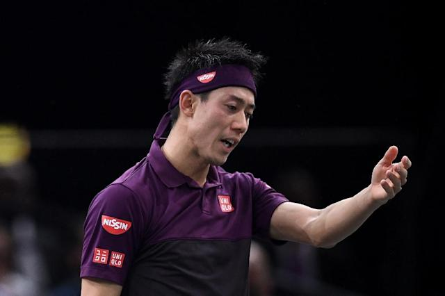 Japan's Kei Nishikori, pictured November 2, 2018, qualified for the ATP Finals as a result of the withdrawal of Juan Martin del Potro due to a right knee injury (AFP Photo/Anne-Christine POUJOULAT )